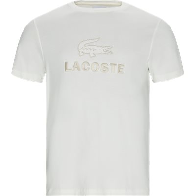 Crew Neck Tone-On-Tone Lacoste Embroidery Cotton T-shirt Regular | Crew Neck Tone-On-Tone Lacoste Embroidery Cotton T-shirt | Hvid